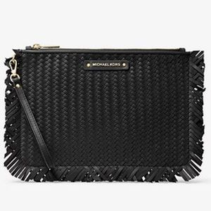 New MICHAEL KORS | Large Woven Leather Pouch